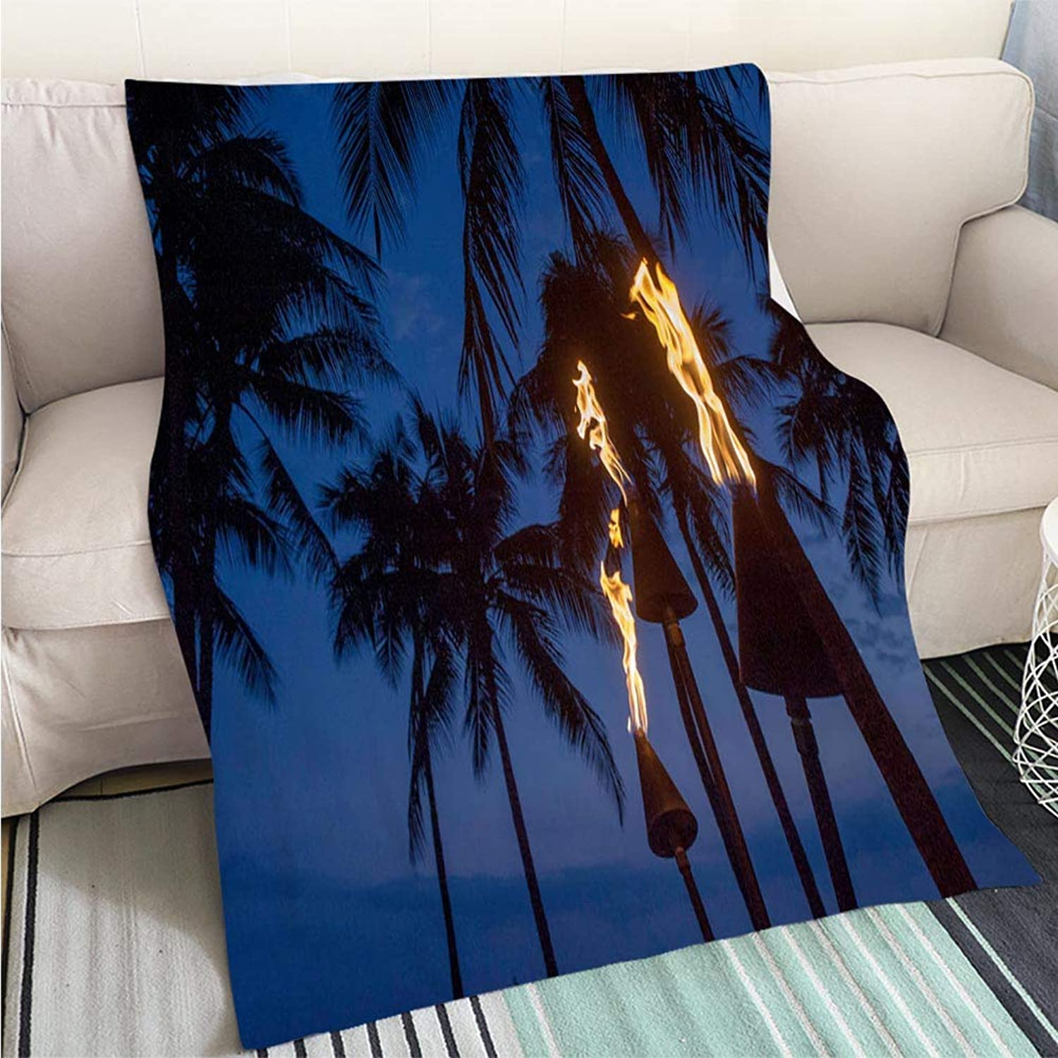 Comforter Multicolor Bed or Couch Torch Lighting in Waikiki at Dusk Perfect for Couch Sofa or Bed Cool Quilt