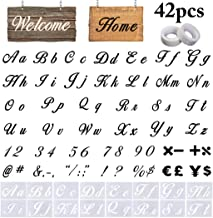 Letter Stencils, Outgeek 40PCS DIY Alphabet Templates with 2 Rolls Tapes Alphabet Letter Number Symbol Drawing Painting Stencils for Painting on Wood Planner Notebook Diary Scrapbook Crafts