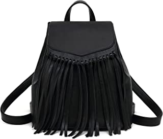 Zebella Tassel PU Leather Backpack Vintage Women Fringe Tassel Daypack Casual Travel Hobo Bag
