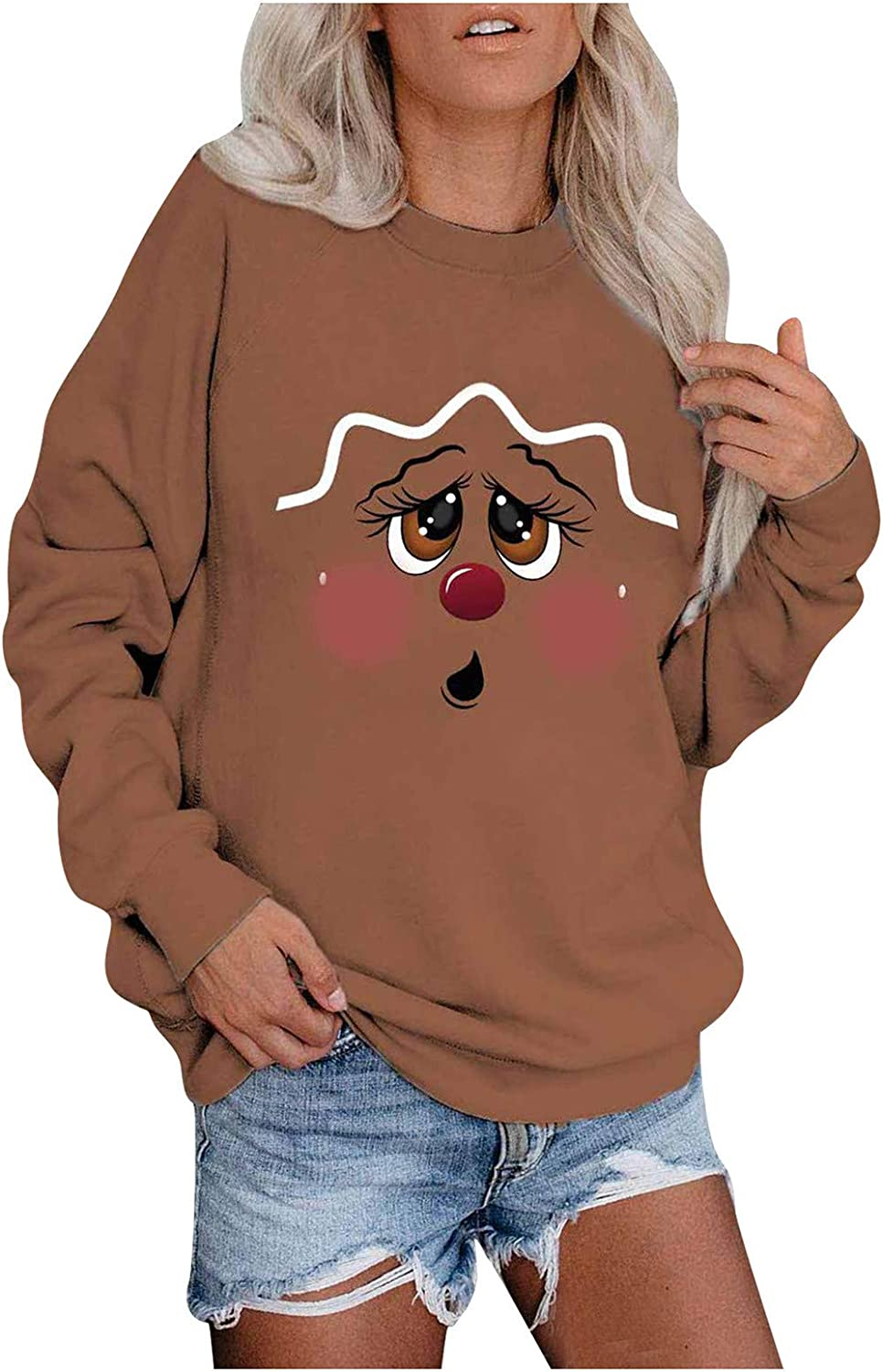 Pottseth Pullover Sweatshirt for Women,Christmas Graphic Printed Sweatshirt Casual Long Sleeve Solid Color Blouses Tops
