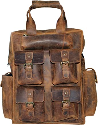 LUST Leather Laptop Backpack Day Pack Travel Bag Satchel with multiple pockets rucksack.