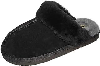 Zapatillas de casa de Mujer Cashmere de Cuero de Oveja Piel de Carnero Invierno Cálido Lana Zapatillas de Estar por Casa P...