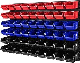 Stapelboxen wandrek - 1152 x 780 mm - opslagsysteem 54-delig dozen gereedschapsgatwand schudplank (rood/blauw/zwart)
