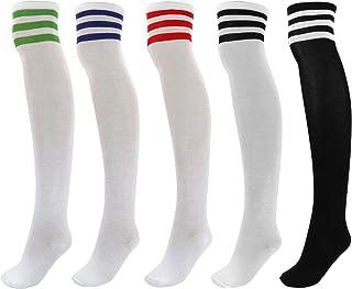 FALETO Longues Chaussettes Collantes Haut de Genou Cuisse Mi-Bas Rayées Souple Élastique Danse Sport Rugby Football Fille ...