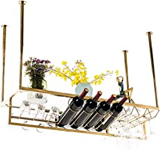 Wine Rack Stainless Steel Hanging Wine Rack | Wine Glass Holder Upside Down Wine Rack | Ceiling Decoration Shelf for Bars,...