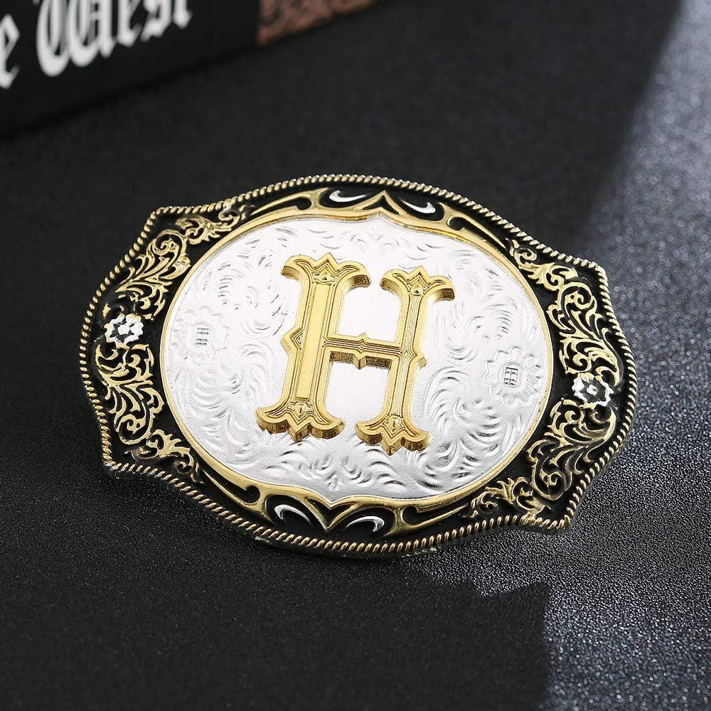 Metal belt buckle gold letter silver background 7cm width zinc alloy western cowboy belt buckle D