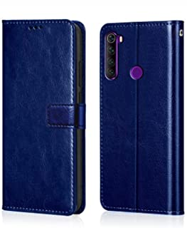 WOW Imagine Redmi Note 8 Flip Case | Premium Leather Finish | Inside TPU with Card Pockets | Wallet Stand | Shock Proof | Magnetic Closure | 360 Degree Complete Protection Flip Cover for Xiaomi Redmi Note 8 - Blue