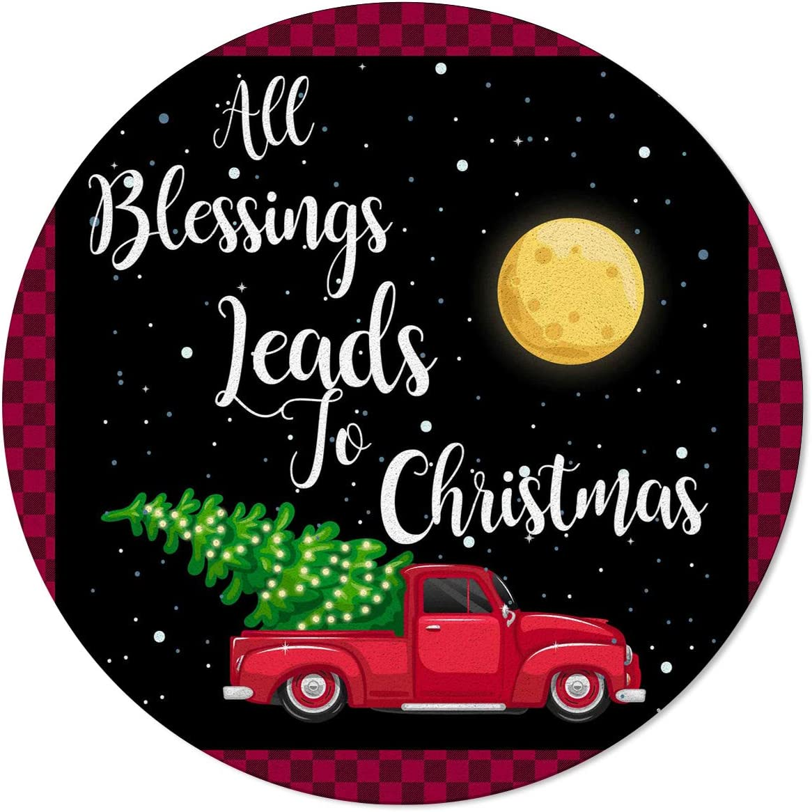 Non Skid Round Area Rugs 3ft Challenge the lowest price of Japan Truck Moon Red Indoo Tree Mail order Christmas