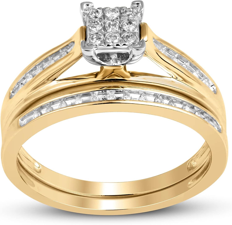 Jewelili 10K Yellow Gold Square Center 1/6 Cttw Natural White Round Diamond Bridal Ring