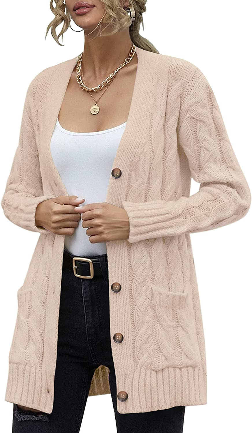 Women's Long Sleeve Cable Knit Sweater Open Front Cardigan Button Loose Casual Outerwear with Pockets
