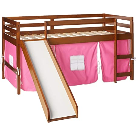 Amazon Com Donco Kids Low Loft Bed With Slide With Tent Twin Light Espresso Pink Furniture Decor