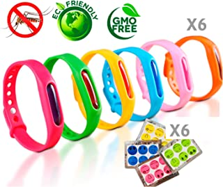 Anti Mosquito Bracelet for Kids and Adults – Mosquito Repellent Bracelet – Set of 6 Natural Lavender Waterproof Bracelets + 1 Pack Mosquito Repellent Patches – Summer Insect Protection Bands