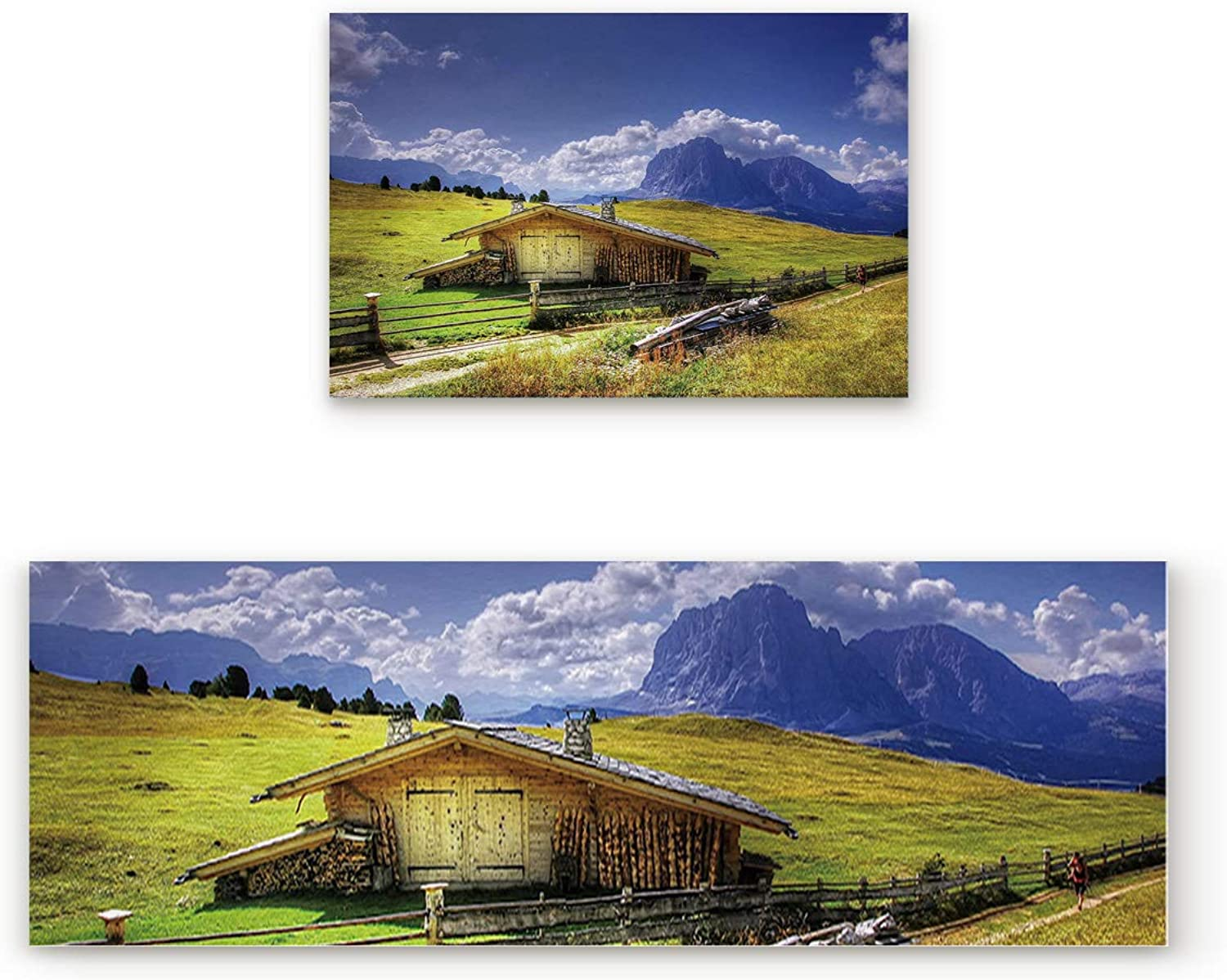 Kitchen Rugs, Non Slip Mat Kitchen Rug Set 2 Piece Grass on The Cabin, Pedestrians, Mountains, bluee Sky, White Clouds Scenery 23.6 x35.4 +23.6 x70.9