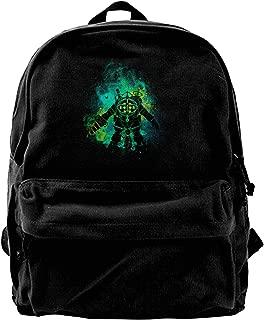 WUHONZS Canvas Backpack Rapture Art Big Daddy Little Sister Bio Shock Rucksack Gym Hiking Laptop Shoulder Bag Daypack for Men Women