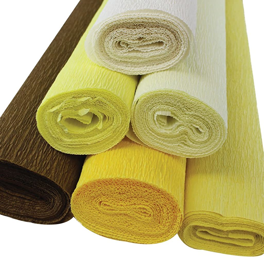 Just Artifacts Premium Crepe Paper Rolls - 8ft Length/20in Width (6pcs, Color: Shades of Yellow)