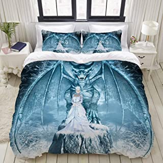 """Mokale Bedding Duvet Cover 3 Piece Set - Snow Queen and Blue Dragon - Decorative Hotel Dorm Comforter Cover with 2 Pollow Shams - Twin 68""""x86"""""""