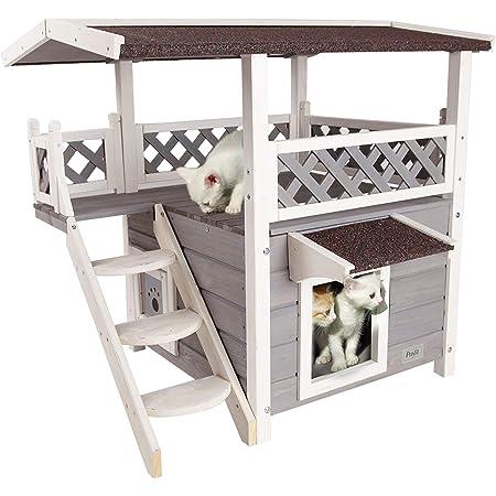 Petsfit Outdoor Cat House For Feral Cats Weatherproof 2 Story Wooden Kitten Condo With Escape Door Pet Supplies