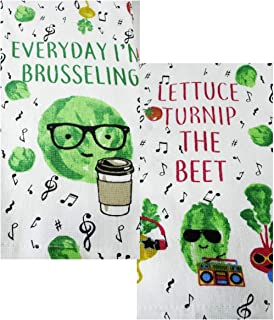 Everyday I'm Brusseling & Lettuce Turnip The Beet 2 Piece Kitchen Towel Set/Hand Dish Towels