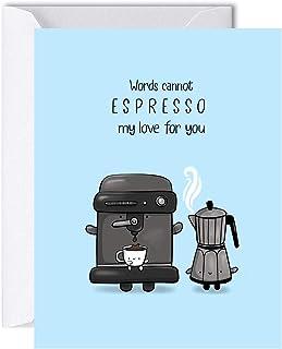 Espresso Anniversary Card for Husband Wife, Cute Birthday Card for Her Him, Greeting Card for Boyfriend Girlfriend