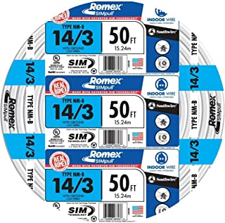Southwire 63946822 50' 14/3 with ground Romex brand SIMpull residential indoor electrical wire type NM-B, White