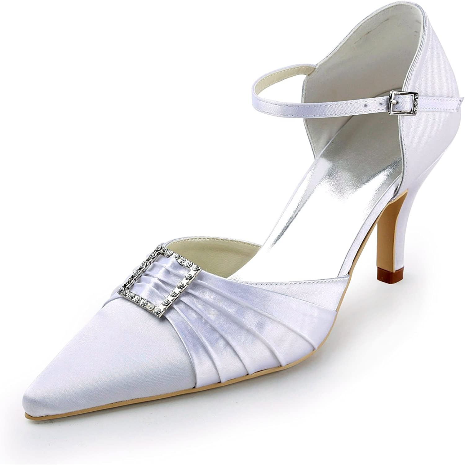 Minishion TMZ341 Women's Stylish Satin Bridal Wedding Evening Formal Party Pumps shoes