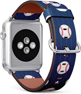 (Baseball and Star Pattern) Patterned Leather Wristband Strap for Apple Watch Series 4/3/2/1 gen,Replacement for iWatch 38mm / 40mm Bands