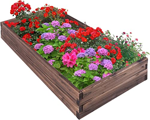 wholesale Giantex Raised Garden Bed, Wood Planter Box, Outdoor Planting Bed for Vegetable Flower, Rectangular popular Planter for Patio and Lawn 47''Lx24''Wx9''H, sale (Brown) outlet sale