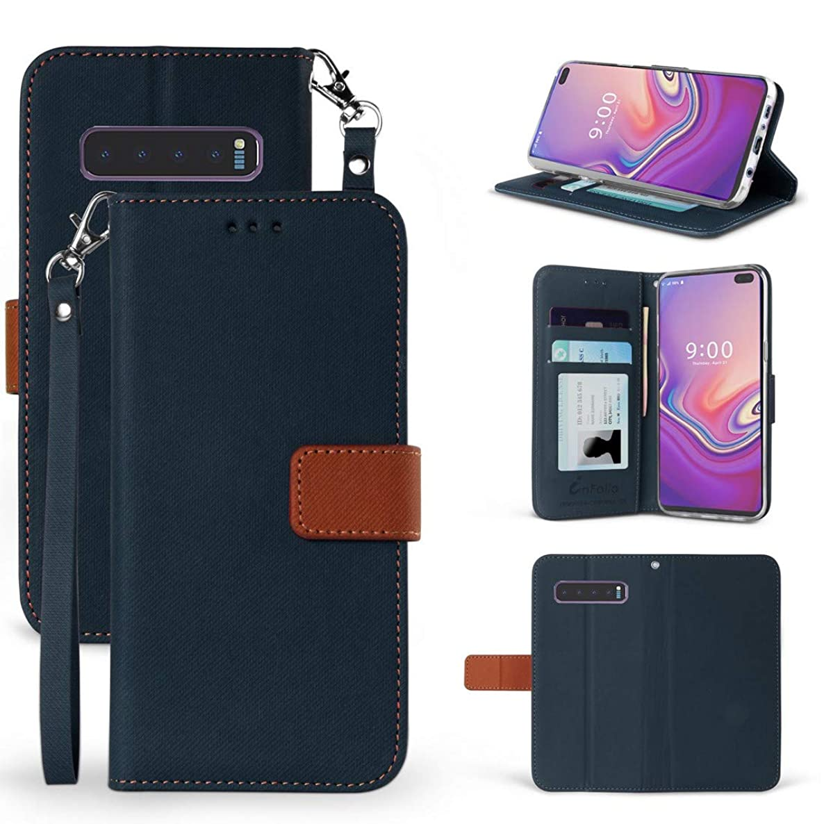 Beyond Cell Wallet Case Compatible with Samsung Galaxy S10+ Plus with Synthetic PU Leather, Card Slots, Magnetic Flip Cover and Atom Cloth - Dark Blue