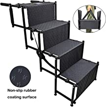 YEP HHO 4 Steps Upgraded Folding Pet Stairs Ramp Lightweight Portable Cat Dog Ladder with Waterproof Surface Great for Cars Trucks SUVs