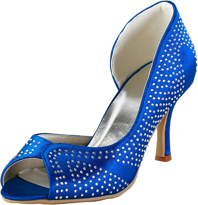 Minishion GYAYL416 Womens Stiletto Heel Sparkle Satin Evening Party Bridal Wedding shoes Sandals