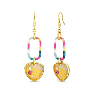 Steve Madden Yellow Gold Plated Multi Color Rainbow Resin Rhinestone Heart Link French Wire Dangle Earrings for Women