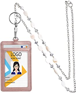 Leather ID Badge Holder with Necklace lanyards, 20