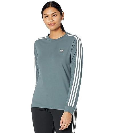 adidas Originals 3-Stripes Long Sleeve Tee (Blue Oxide) Women