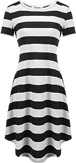 Women O-Neck Short Sleeve Striped Summer Casual Flared A-Line Dress