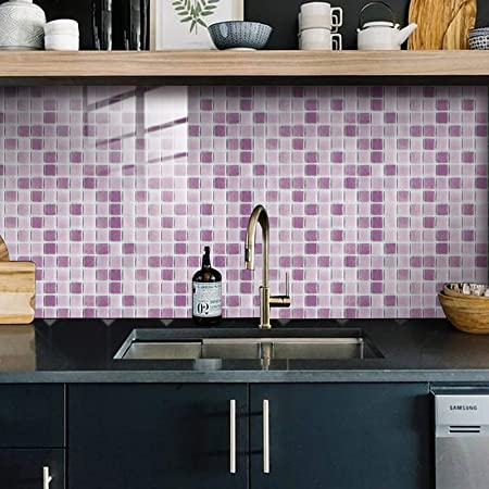 Retro Tiles Wall Stickers,Cherry-Lee Multi-Colored Peel and Stick Wall Tile Decorative Tile Stickers for Bathroom Kitchen