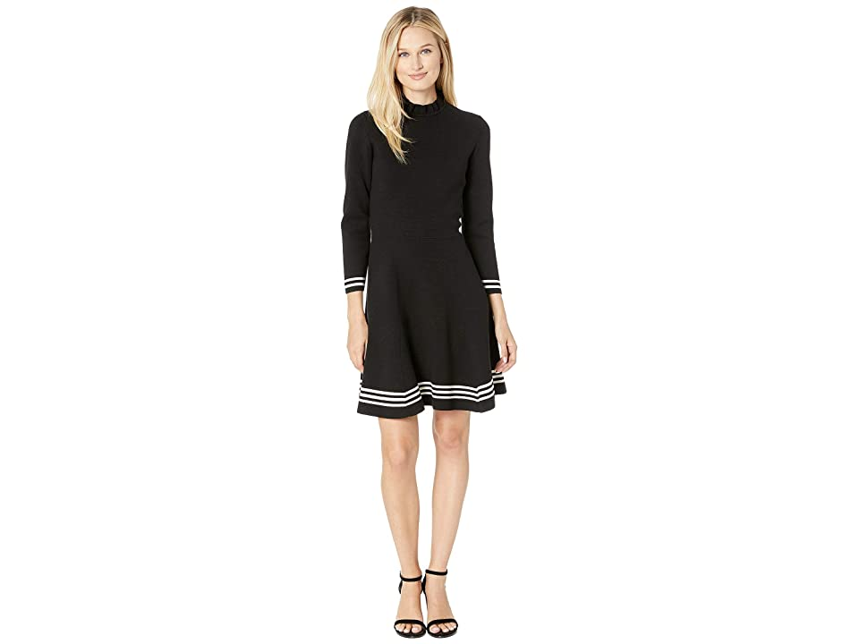 Anne Klein Ruffle Mock Neck Long Sleeve Fit Flare Dress (Anne Black/Anne White) Women
