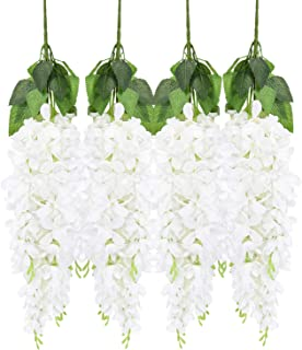 Artificial Wisteria Flower 4 Pack 2.13 FT Artificial Fake Wisteria Vine Ratta Hanging Garland Long Hanging Bush Silky Flowers String for Wedding Party Wall Door Table Home Decor (White)
