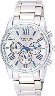 Akribos Multifunction Stainless Steel Chronograph Watch - 3 Sub-Dials Complications Quartz - Men's Heavy Bracelet Watch - AK865