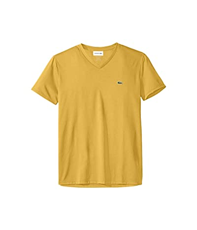 Lacoste Short Sleeve V-Neck Pima Jersey Tee (Daba) Men