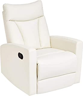 JC Home Javik Swivel Glide Recliner with Faux-Leather Upholstery, Creamy White