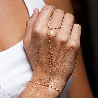 TseenYi Boho Vinger Ketting Armband Gouden Vinger Eenvoudige Nummer 8 Ketting Armband Zomer Handketting Sieraden voor Vrou...