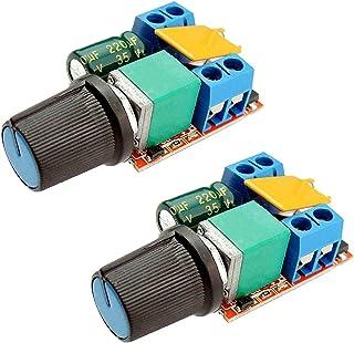 Onyehn DC Motor PWM Speed Controller3V 6V 12V 24V 35V Speed Control Switch Mini LED Dimmer 5A 90W(Pack of 2pcs)