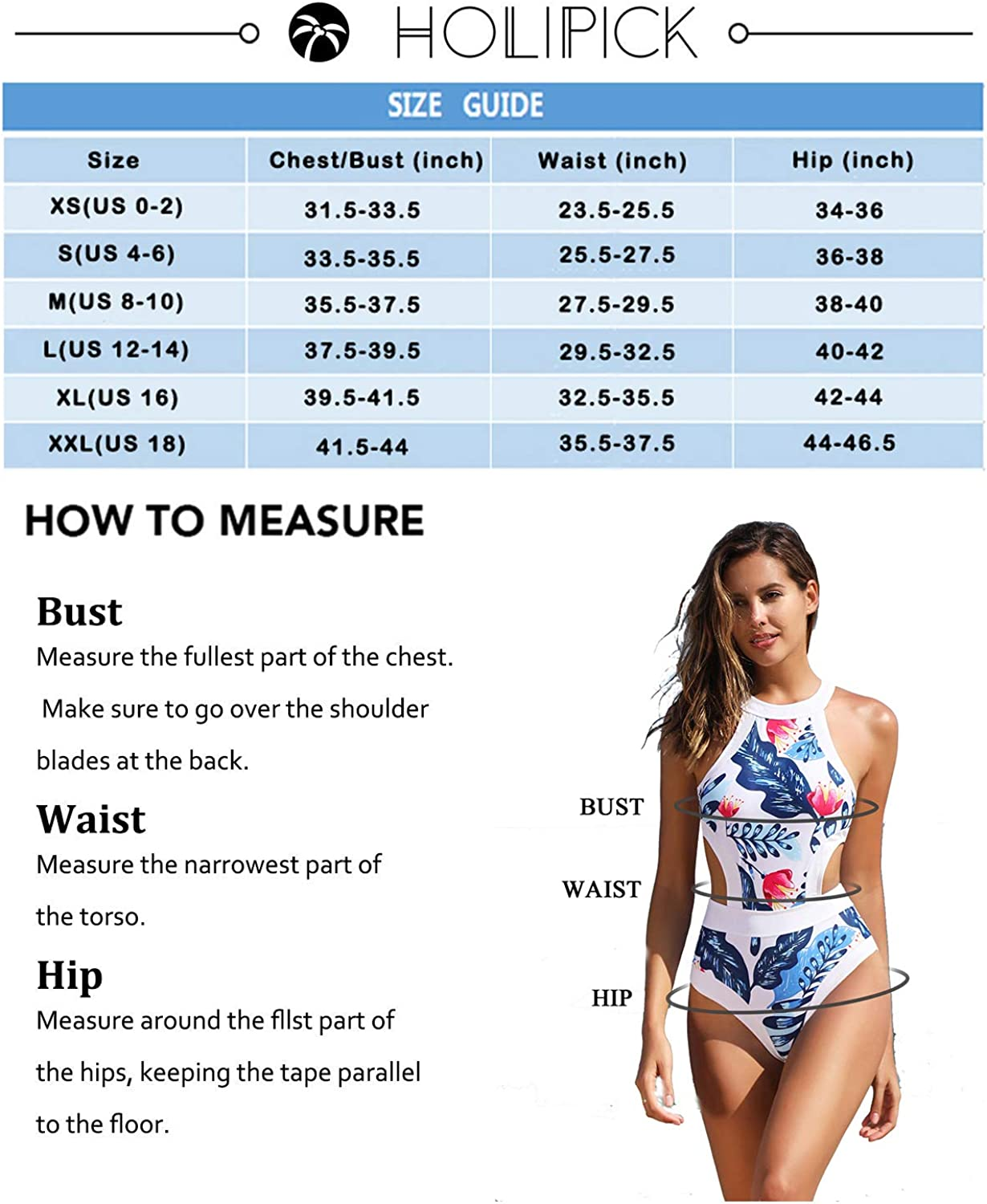 Holipick Women's High Neck Cutout One Piece Swimsuit Sports Tropical Printed Bathing Suits Teen Girls