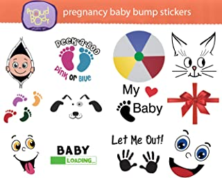 ProudBody Pregnancy BABY BUMP STICKERS for Maternity Weekly Belly Keepsake - 12 Design Sheets