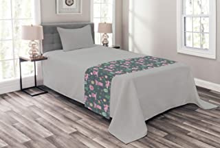 Ambesonne Nursery Bed Runner, Repetitive Happy Pattern of Piglets Flowers Birds and Trees, Decorative Accent Bedding Scarf for Hotels Homes and Guestrooms, Multicolor