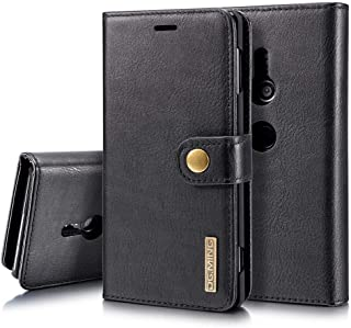 Sony Xperia XZ2 Case, Genuine Cowhide Leather Wallet Cases for Sony Xperia XZ2 Magnetic Detachable Card Slots Phone Folio Flip Back Cover (Black)