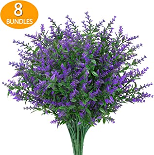 GREENRAIN 8 Bundles Artificial Lavender Flowers Outdoor Fake Flowers for Decoration UV Resistant No Fade Faux Plastic Plan...