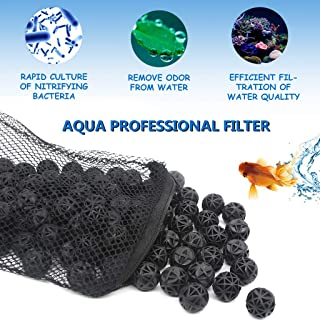 boxtech Bio Balls Filter Media, Aquarium Filter Bio Ball - Biological Filtration Rings with Media Bags for Aquarium Fish Tanks