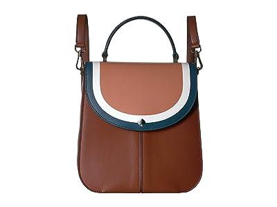Kate Spade New York Andi Stripe Medium Convertible Backpack (Tawny Multi) Backpack Bags