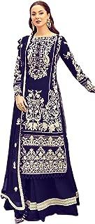 رداء نسائي أزرق للحفلات من القطن الخالص طويل مستقيم سلوار للنساء مسلم هيج باكستاني فستان 6093